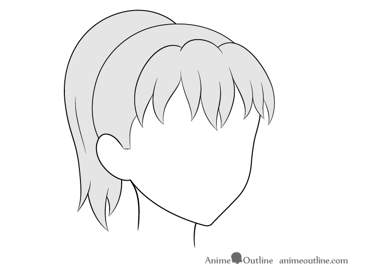 Anime ponytail hair 3/4 view drawing