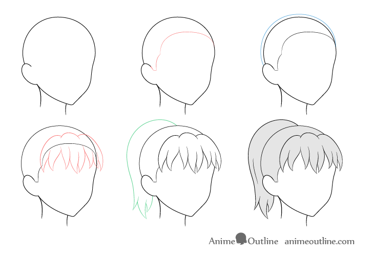 Anime ponytail hair 3/4 view drawing step by step