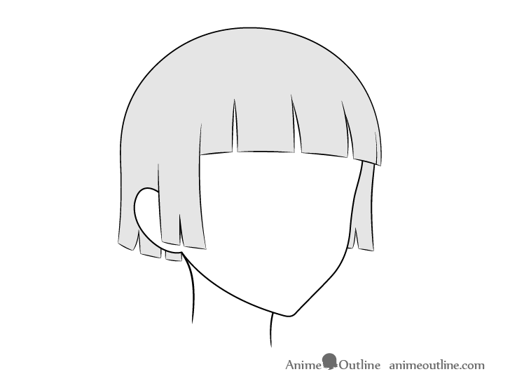 Anime trimmed hair wind 3/4 view drawing