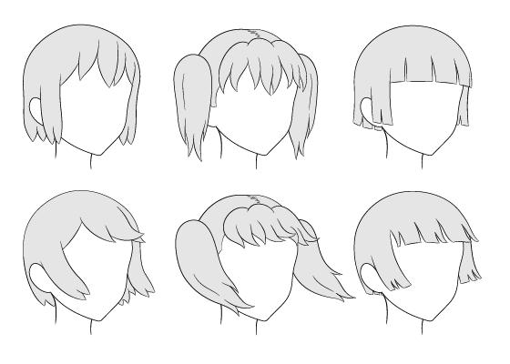 Anime hair 3/4 view