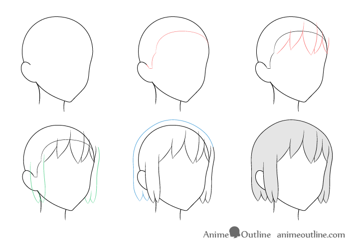 Anime hair 3/4 view drawing step by step