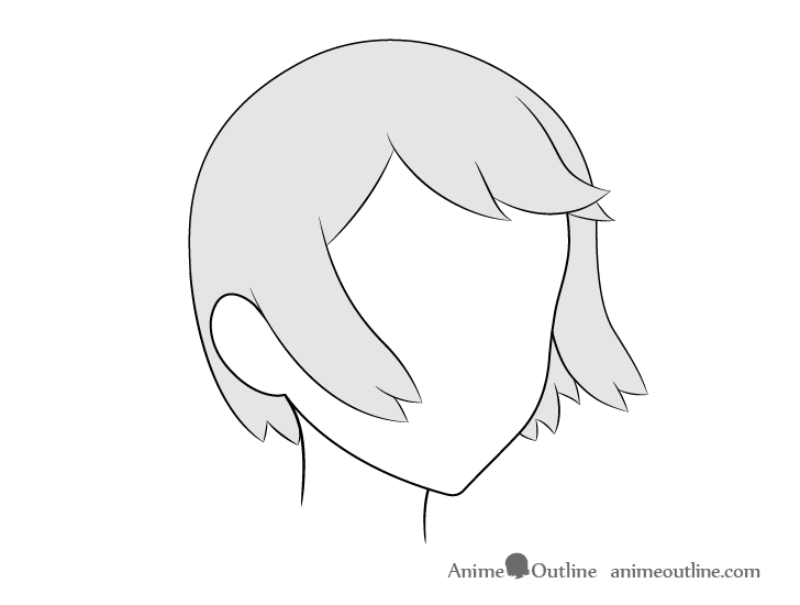 Anime hair blowing in wind 3/4 view drawing