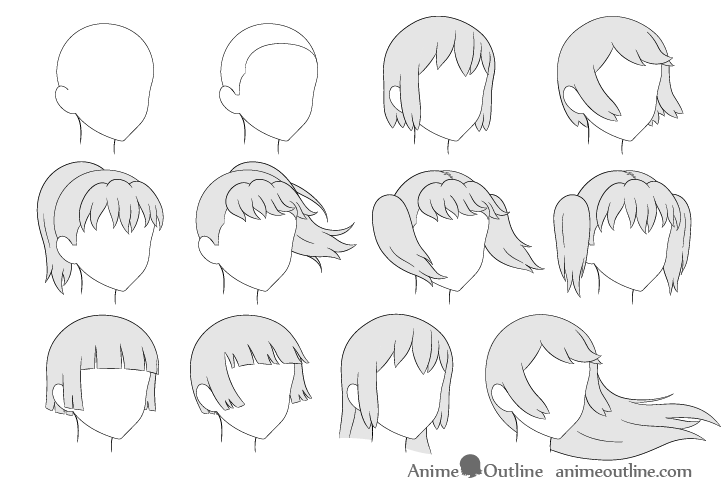 Anime hair drawing 3/4 view