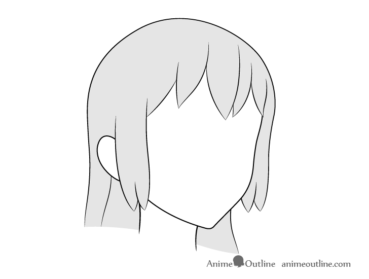 Anime long hair 3/4 view drawing