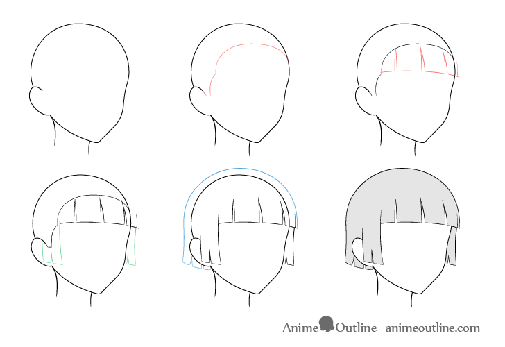 Anime trimmed hair wind 3/4 view drawing step by step