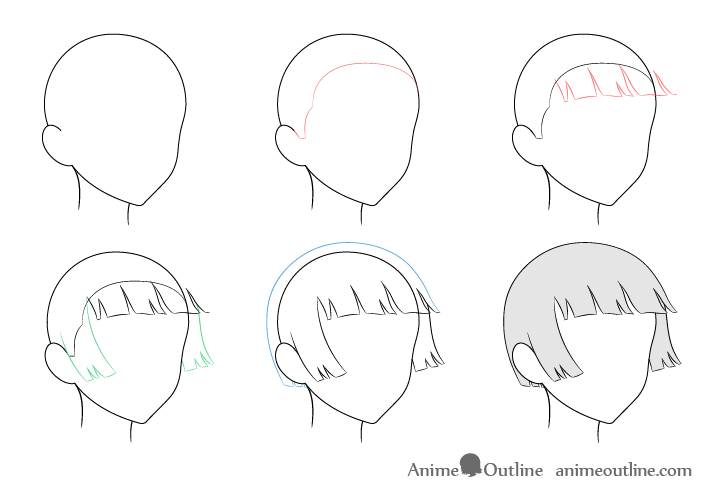 Anime trimmed hair blowing in wind 3/4 view drawing step by step