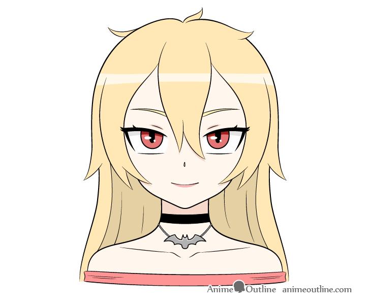 Anime vampire girl blonde hair drawing