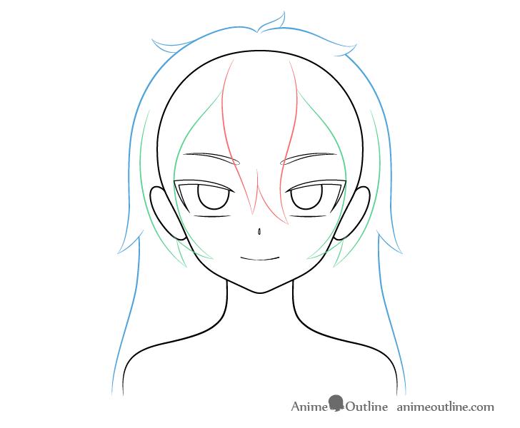Anime vampire girl hair back drawing