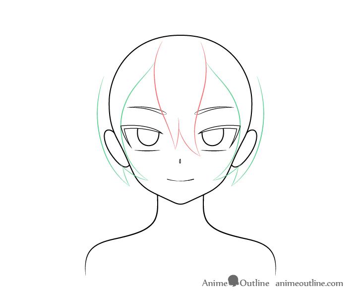 Anime vampire girl hair sides drawing