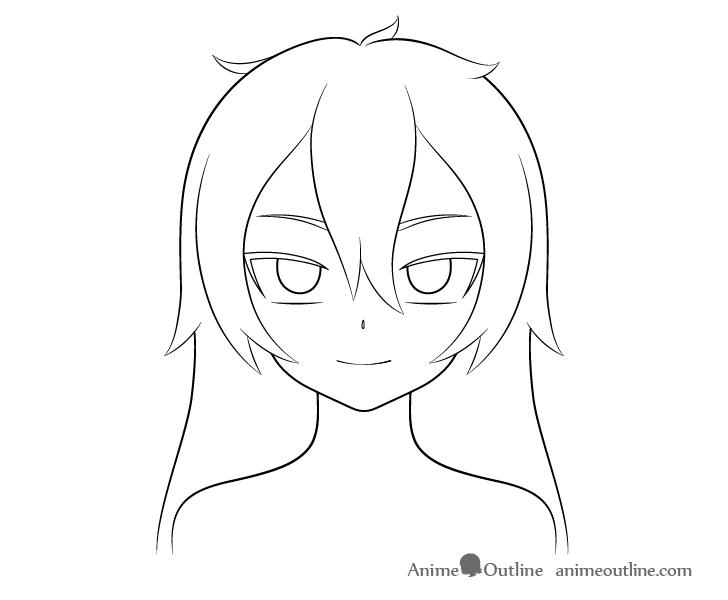 Anime vampire girl outline drawing