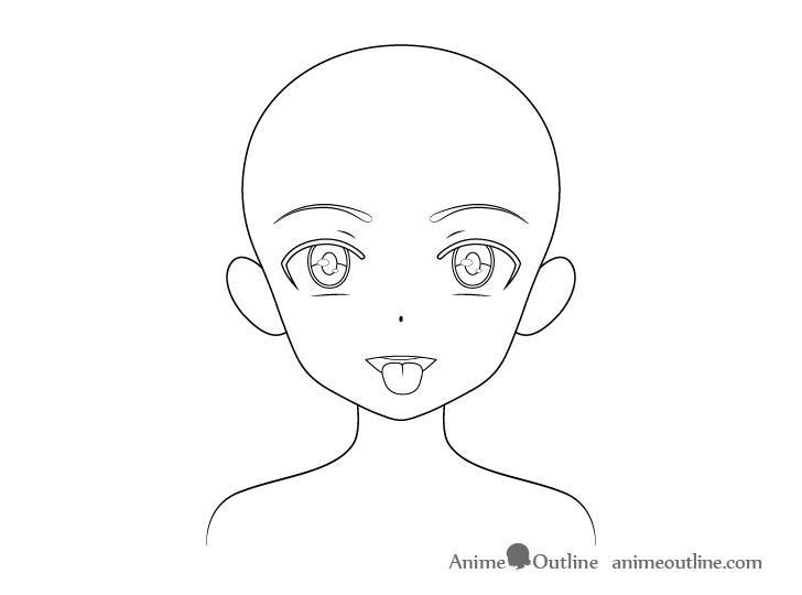 Anime girl open mouth tongue out details drawing