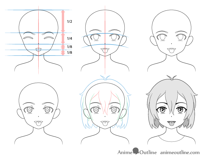 Anime girl open mouth tongue out drawing step by step