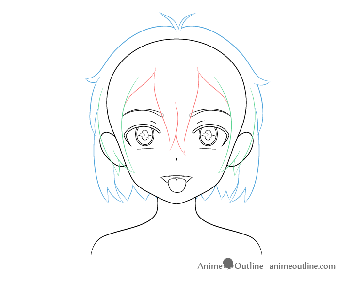 Anime girl open mouth tongue out hair drawing