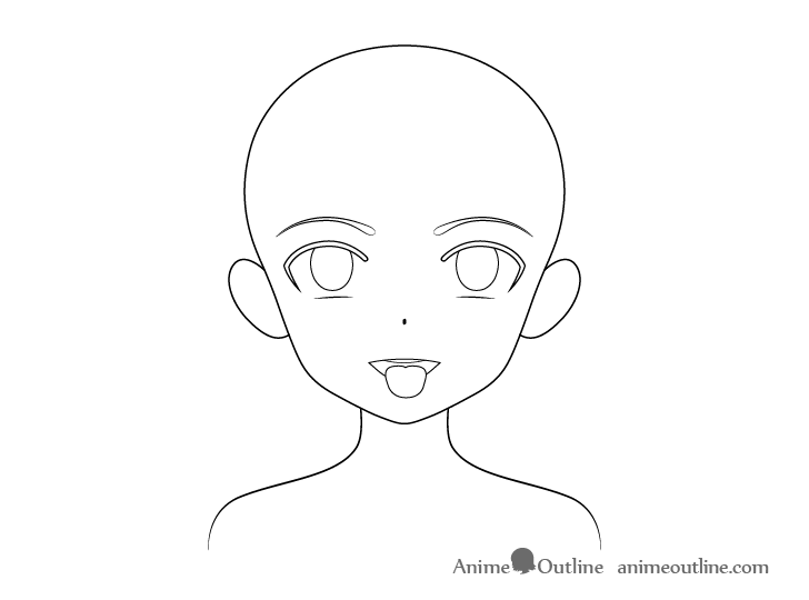 Anime girl open mouth tongue out outline drawing