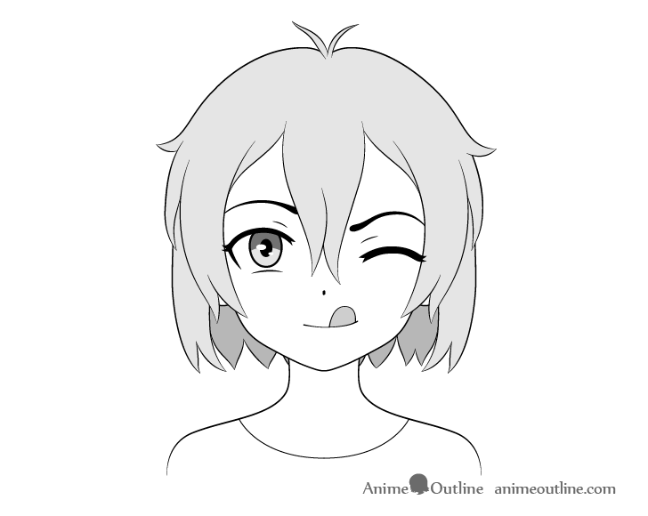 Anime girl tongue out drawing