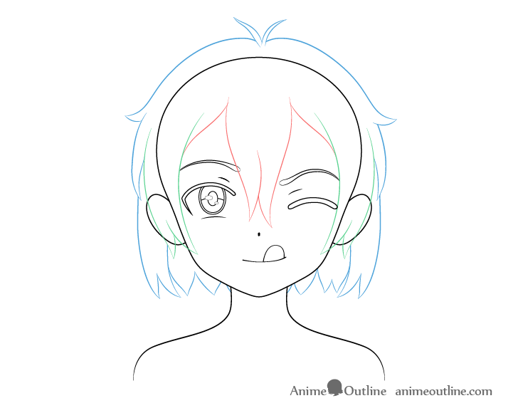 Anime girl tongue out hair drawing