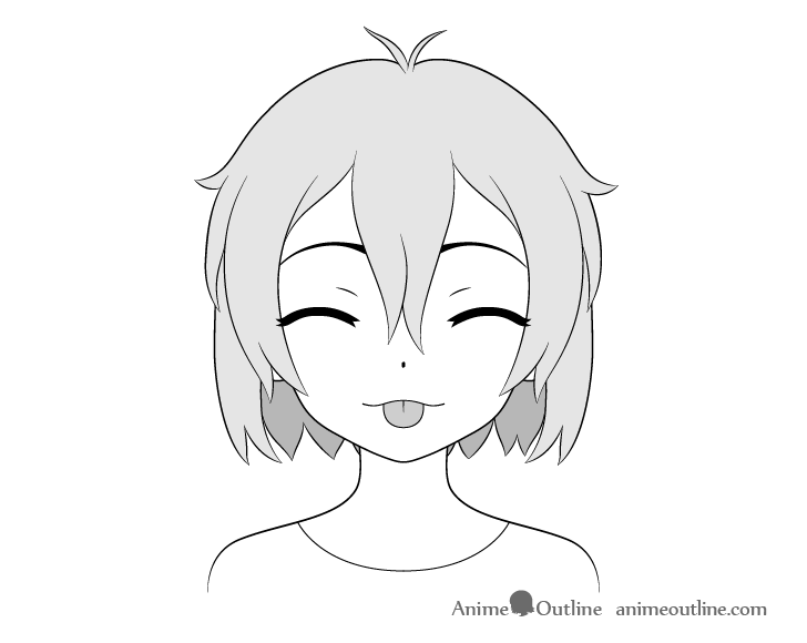 Anime girl tongue out teasing face drawing