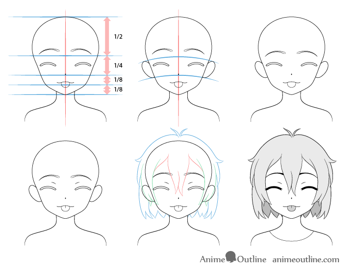 Anime girl tongue out teasing face drawing step by step