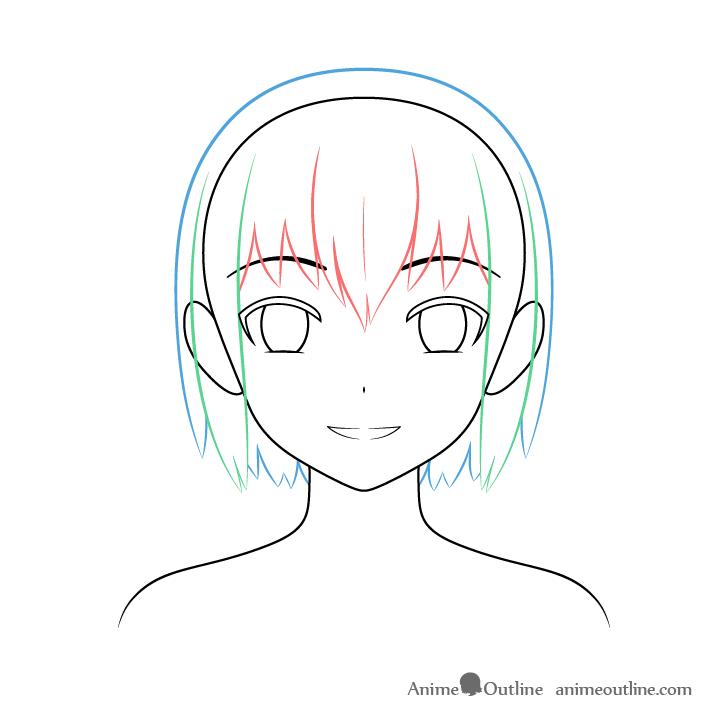 Anime Christmas girl hair back drawing