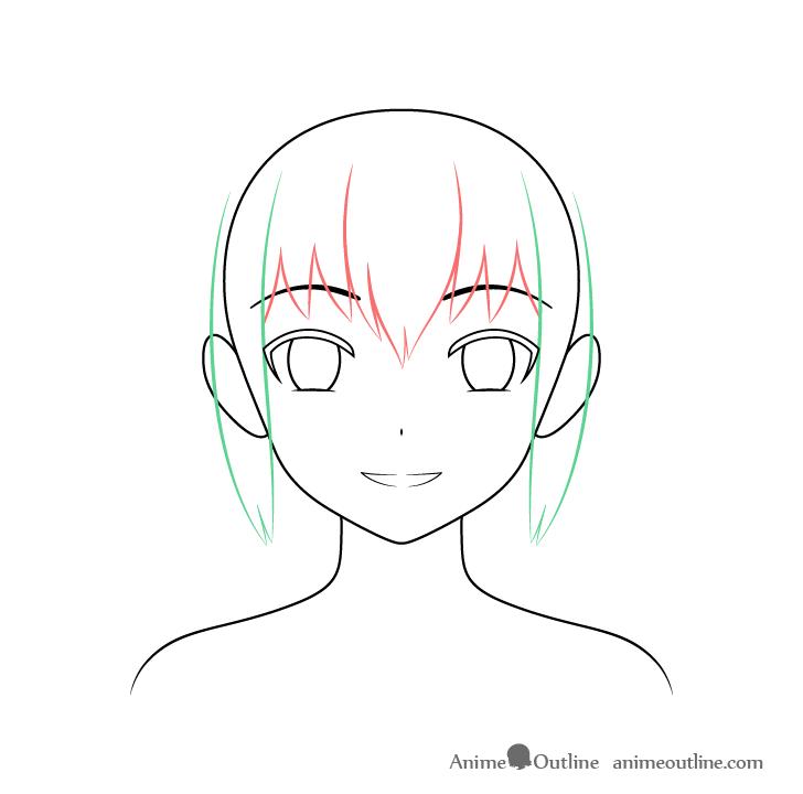 Anime Christmas girl hair sides drawing
