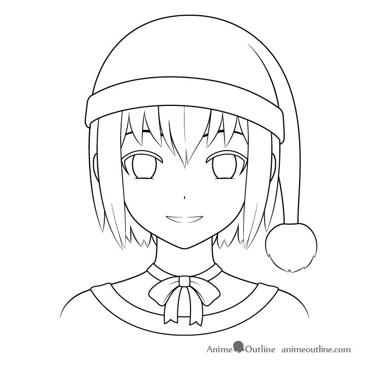 Anime Christmas girl clothes drawing