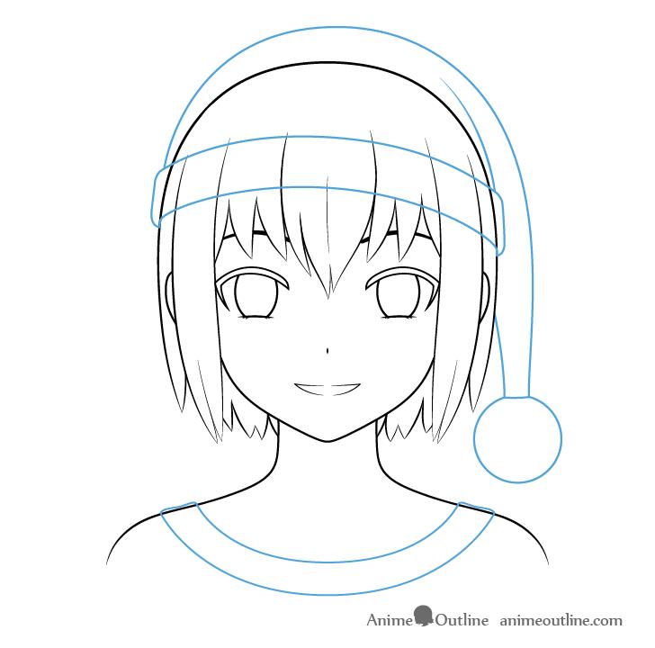 Anime Christmas girl clothes outline drawing