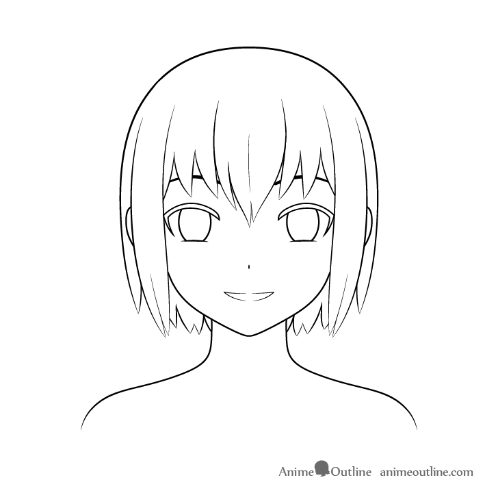 Anime Christmas girl hair drawing