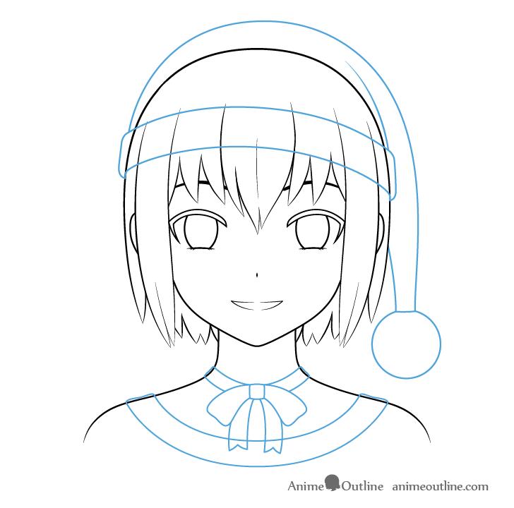 Anime Christmas girl ribbon outline drawing
