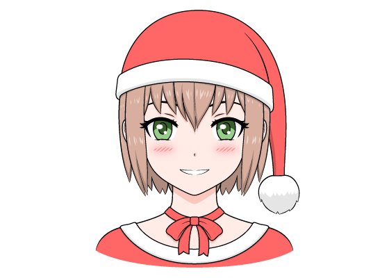 Anime Christmas girl Santa hat