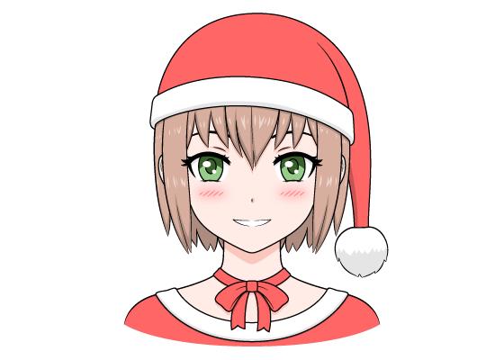 Anime Christmas girl Santa hat