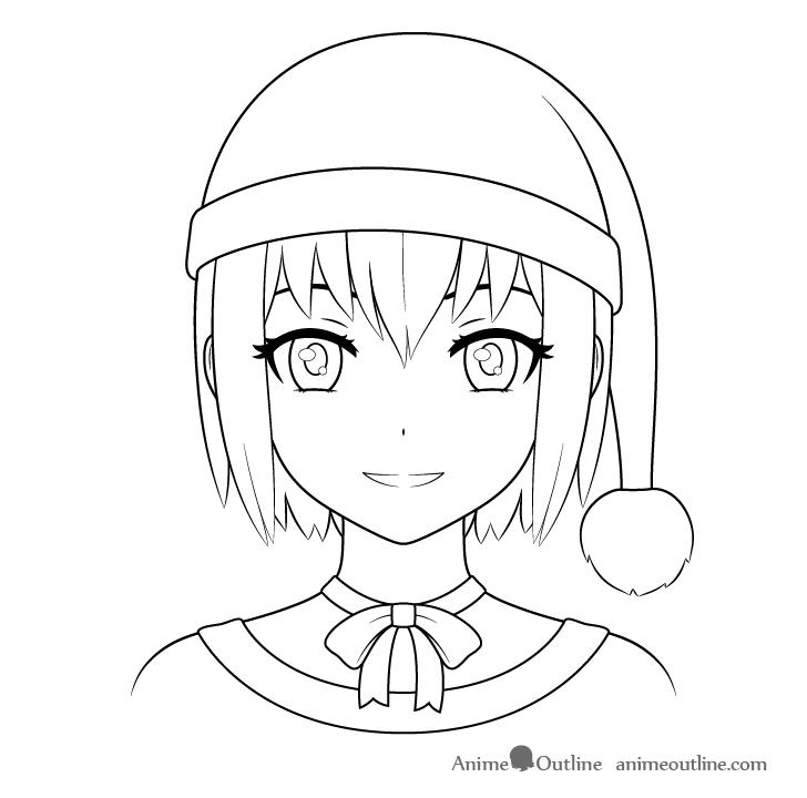 Anime Christmas girl Santa hat line drawing