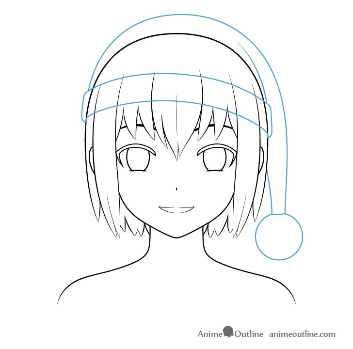 Anime Christmas girl Santa hat outline drawing