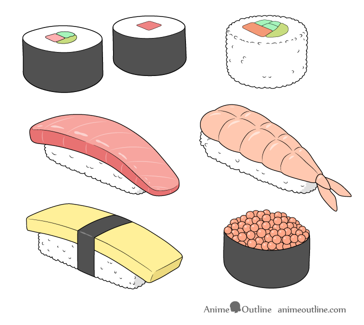 Sushi drawing step by step