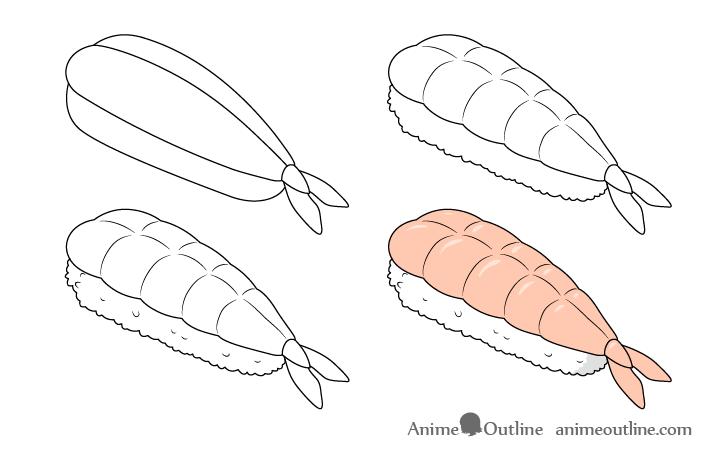 Sushi ebi nigiri drawing step by step