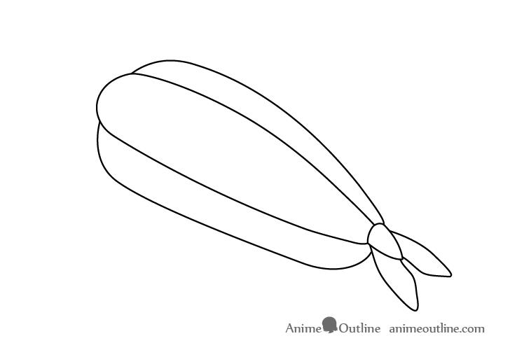 Sushi ebi nigiri outline drawing