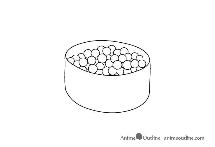 Sushi ikura nigiri details drawing