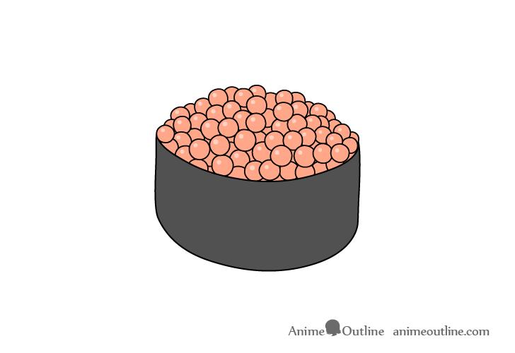 Sushi ikura nigiri drawing