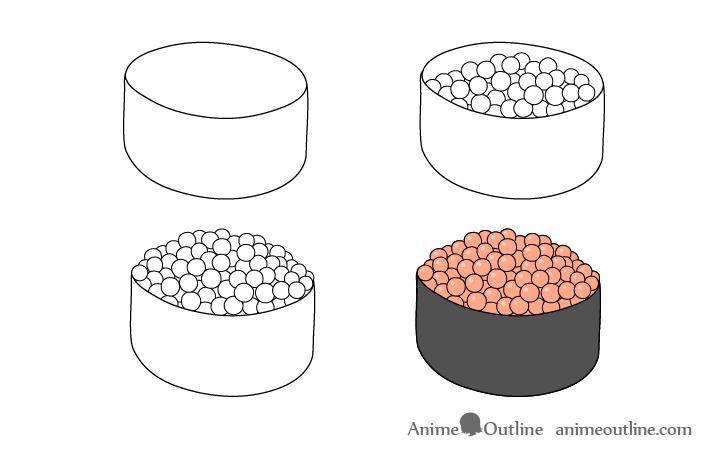 Sushi ikura nigiri drawing step by step