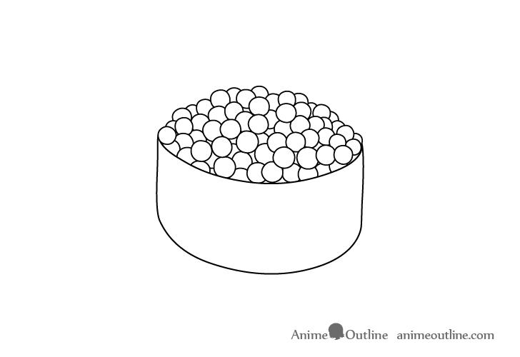 Sushi ikura nigiri line drawing