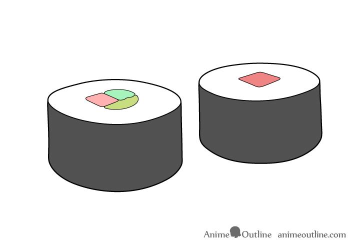 Sushi maki drawing