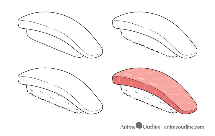 Sushi nigiri drawing step by step