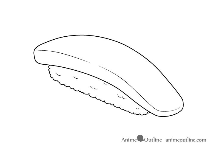 Sushi nigiri line drawing