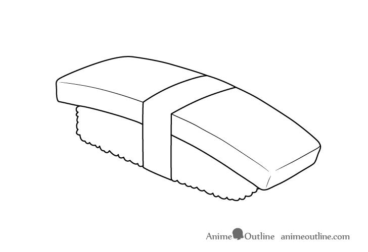 Sushi tamago nigiri details drawing