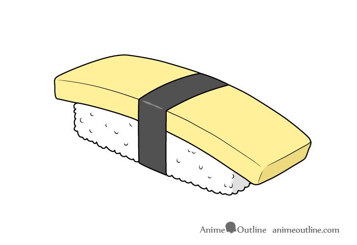 Sushi tamago nigiri drawing