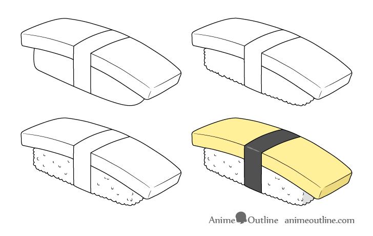 Sushi tamago nigiri drawing step by step