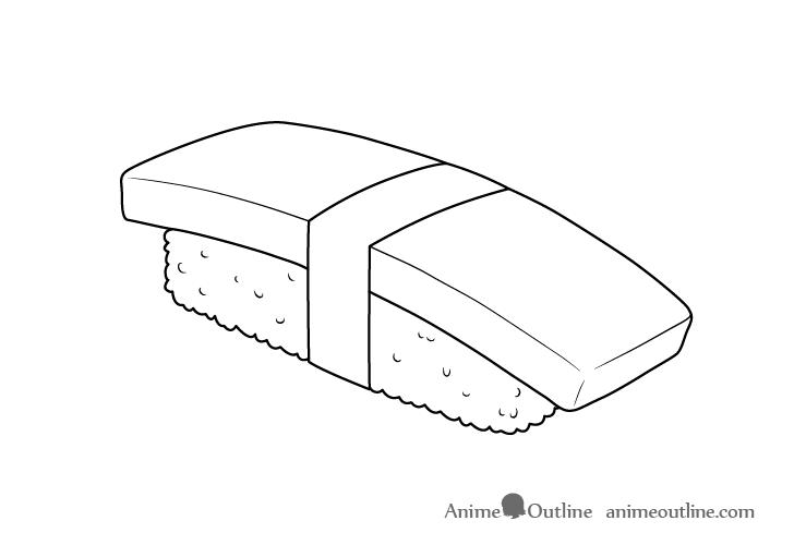 Sushi tamago nigiri line drawing