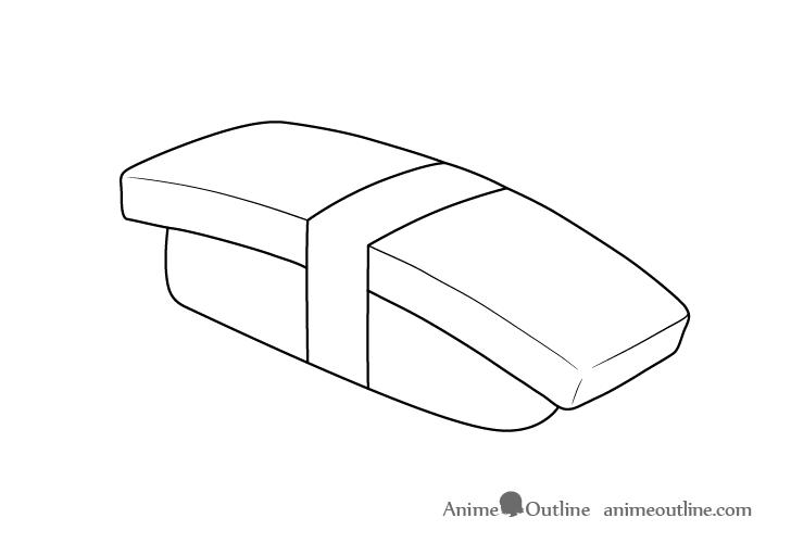 Sushi tamago nigiri outline drawing