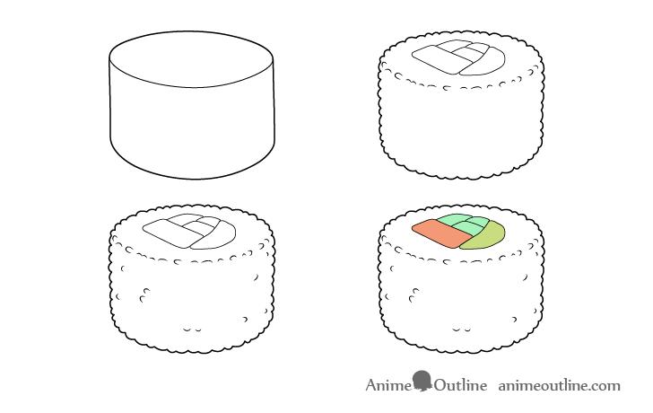 Sushi uramaki drawing step by step