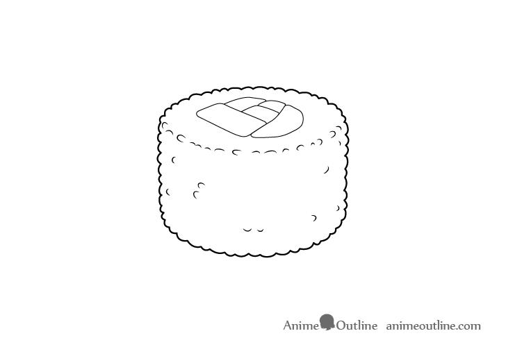 Sushi uramaki line drawing