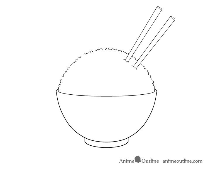 Rice bowl chopsticks drawing